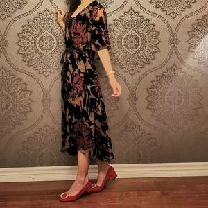 Devore velvet embroidered wrap dress